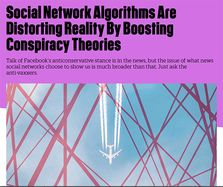 Co-Exist: Social Network Algorithms Are Distorting Reality By Boosting Conspiracy Theories